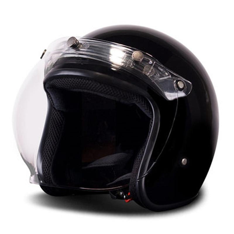 باي ريترو-خوذة دراجة نارية عتيقة ، وجه مفتوح ، 3/4 ، Cafe Racer Cruiser Chopper ، خوذة دراجة نارية مع قناع فقاعي