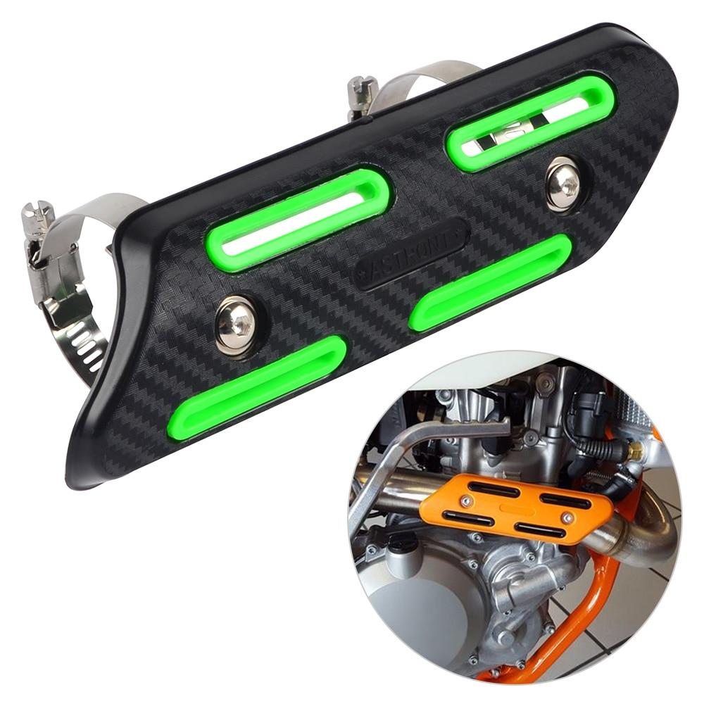 Universal Black Exhaust Pipe Heat Shield Heel Guard Protector For KAWASAKI KX250F KX450F KX250 KX125 KXF250 KXF450 Ninja 250R billet pivot 3 direction foldable clutch lever perch for kawasaki kx65 kx85 kx125 kx250 kx500 kx250f kx450f klx450r klx150