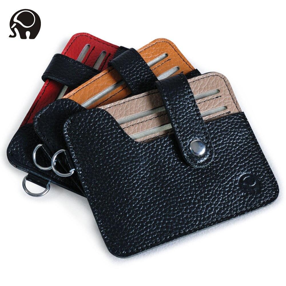 Nueva billetera de cuero genuino hombres tarjeta bancaria de negocios titular delgada tarjeta de crédito caso conveniente pequeñas tarjetas paquete efectivo bolsillo
