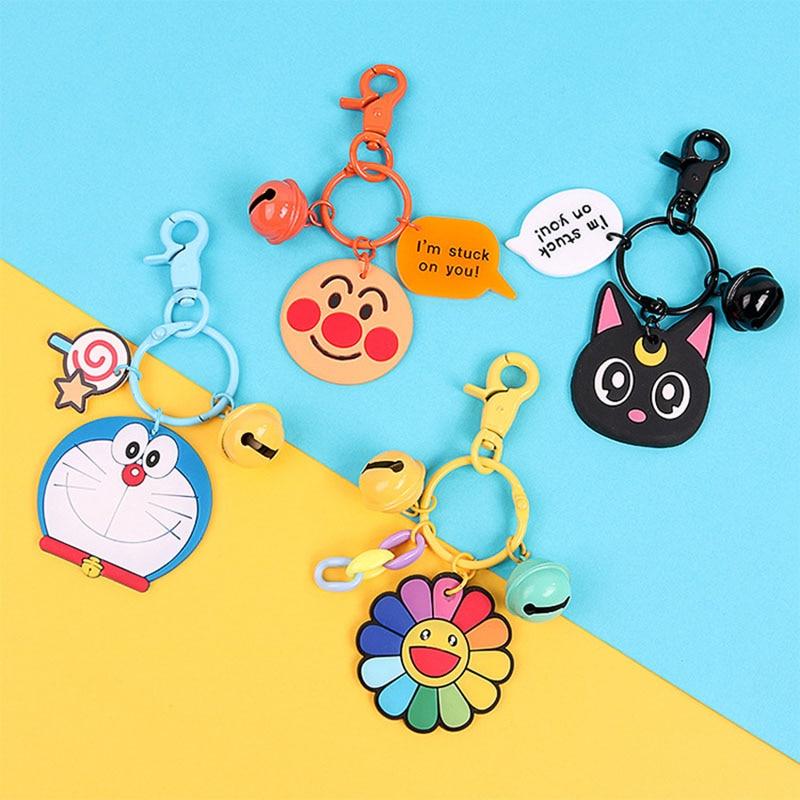 LLavero de silicona con dibujo de gato negro y girasol, soporte para llavero para mujeres y niños, llavero con anilla para llaves, bolsa, cadena de correas, regalo, 1 Uds.