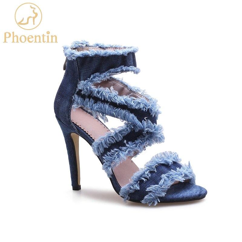 Phoentin, botines de mezclilla para mujer, botines de verano para mujer, botines finos con punta descubierta y tacón alto de talla grande FT694 2019