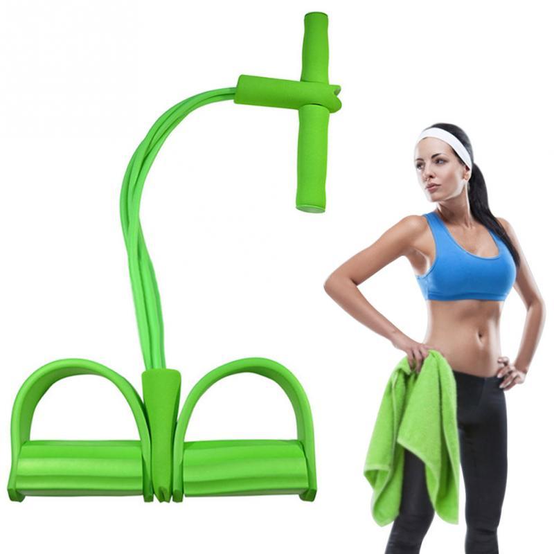 4 tubos fuertes bandas de resistencia de la aptitud de látex Pedal ejercitador mujeres hombres Sit Up Pull Ropes equipo de Fitness yoga pie tic