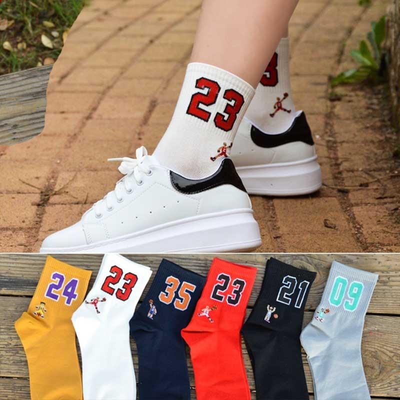عالية الجودة موضة الرجال تنفس جوارب كرة السلة النخبة جوارب رياضية سميكة للجنسين Harajukumen's سعيد مضحك التطريز الجوارب