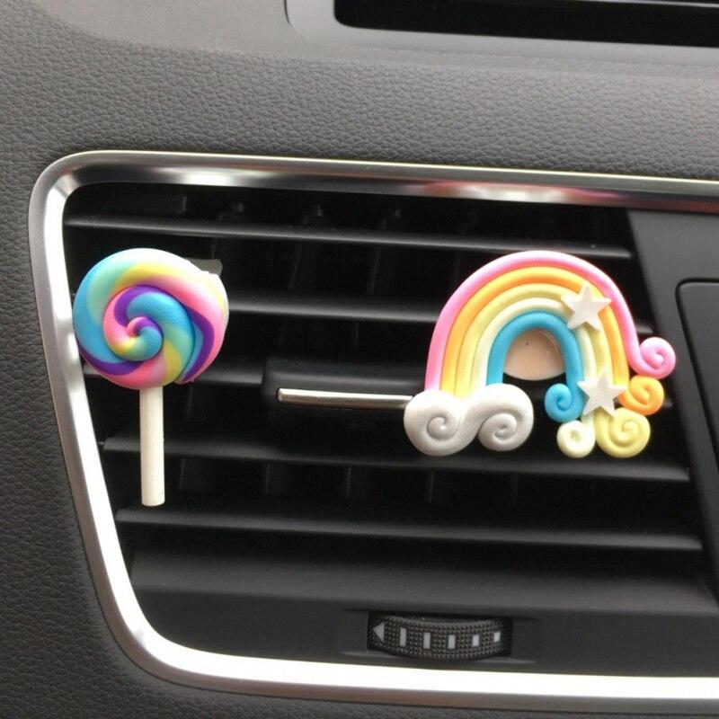 Odświeżacz powietrza do samochodu śliczne Lollipop Rainbow wylot powietrza Ornament dla pani/dziewczyny zapach do samochodu akcesoria samochodowe samochód stylizacji jednolity zapach