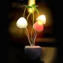 Новинка, ночник с грибным грибком, вилка стандарта ЕС и США, датчик света, AC110V-220V, 3 светодиода, цветная Грибная лампа, светодиодные ночники для детей