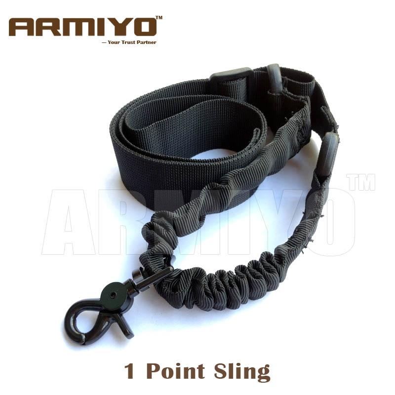 Armiyo 1 ponto estilingue tático airsoft arma alça de ombro elástico bungee arreios náilon caça tiro paintball acessórios