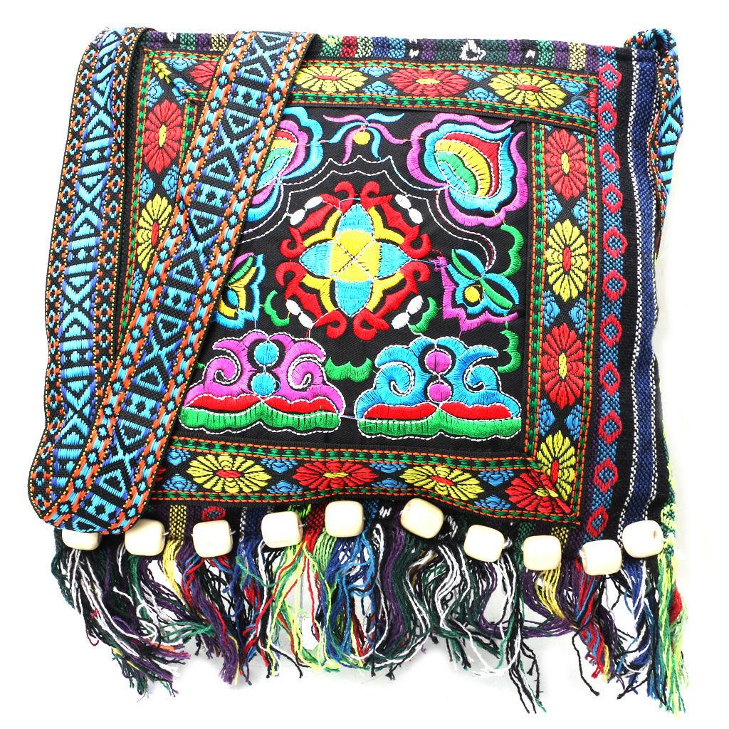 Hmong Vintage Chinese National Style Ethnic Crochet Shoulder Bag Embroidery Flower Boho Hippie Tassel Tote Messenger Handbags