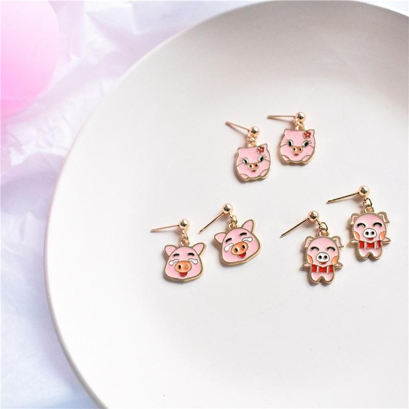 Aretes coreanos bonitos Rosa sencillos con forma de cerdo Kawaii para mujer, bonitos pendientes con forma de cerdo, Animal de la buena suerte 2019, joyería de la suerte