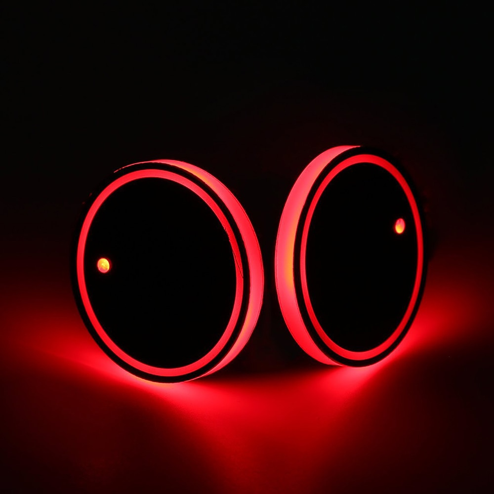 2Pcs Auto LED Wasser Tasse Halter Boden Matte RGB Licht Dekoration Abdeckung Leucht Trim Lampe Pad Universal Ornament Auto zubehör
