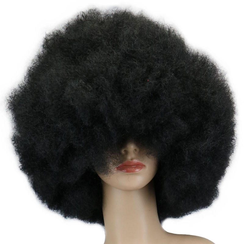 QQXCAIW 200g Super Big  Short Culry Cosplay Party Black Dance Afro Wigs Synthetic