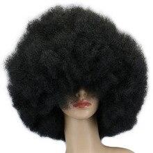 QQXCAIW 200g Super gran corto rizado Cosplay fiesta baile negro pelucas Afro sintético