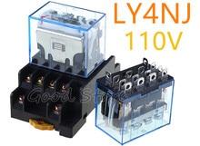 LY4NJ HH64P AC DC 110V 14PIN 10A 1 unité   Bobine de relais puissance, en argent, contact, 4PDT, avec Base de prise de courant