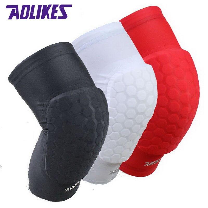 AOLIKES 1 Paar Hex Schwamm Schutz Knie Pads Basketball Bein Ärmeln Kompression Knie Hosenträger Kneepads Sport Sicherheit A-66
