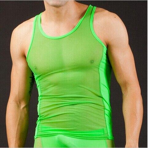 Envío Gratis hombres hueco nuevo Nylon Sexy transparente chaleco transpirable camiseta sin mangas 5 colores S M L