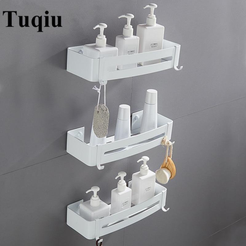 Настенная белая алюминиевая полка для ванной комнаты, мыльница, душевая полка, держатель для шампуня, корзина, угловая полка