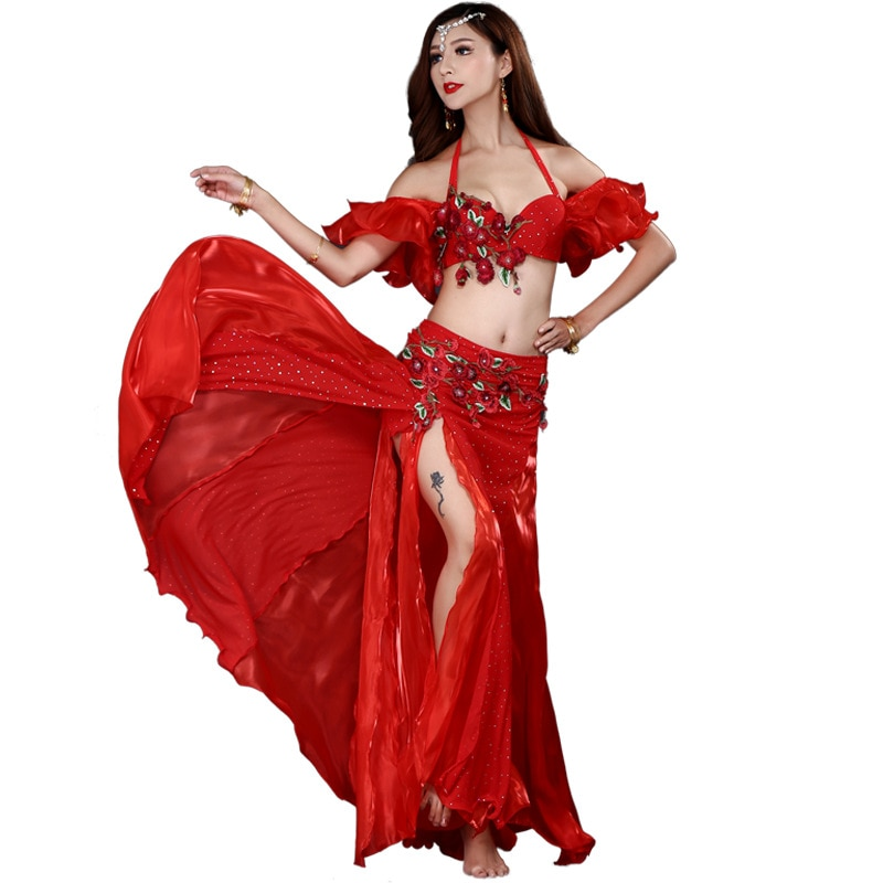 New Adult Lady women Belly Dance Costume Oriental bellydance skirt Stage Performance 2/3pcs set Bra Belt Skirt Bellydancing Wear