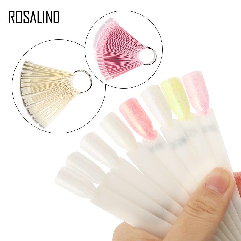ROSALIND 50pcs False Nail Display Design Board Nail UV Gel Decoration Round Nail Tips Natural Acrylic Artificial False Nails