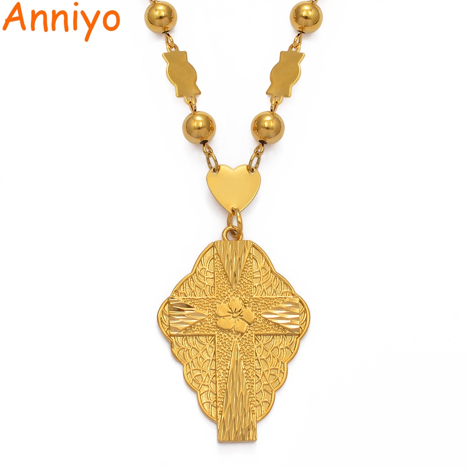 Anniyo Flower Cross Pendant Necklaces for Women Men Guam Micronesia Chuuk Pohnpei Hawaii Flowers Jewelry Gifts #211706