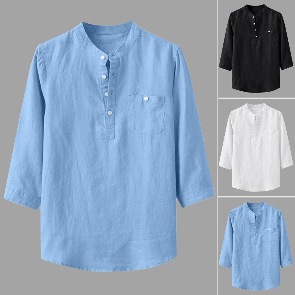 Feitong, camisas holgadas de algodón y lino de manga tres cuartos con bolsillo y cuello alto para hombre