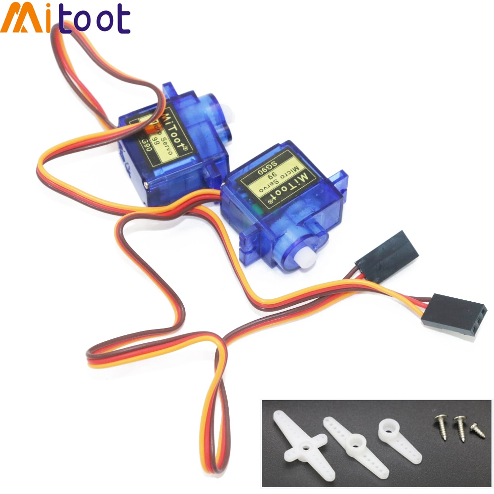 2pcs Mitoot Rc Mini Micro 9g 1.6KG Servo SG90 for RC 250 450 Helicopter Airplane Car Boat For Arduin