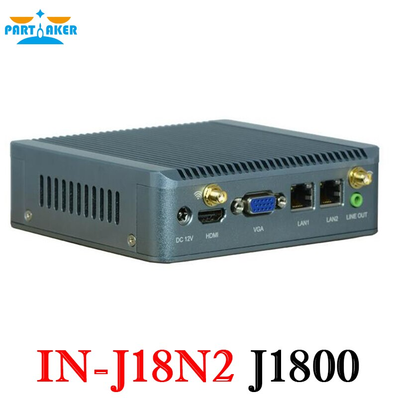Participante venda da fábrica nano bay trail fanless mini computador duplo núcleo j1800 mini pc com dupla lan x86