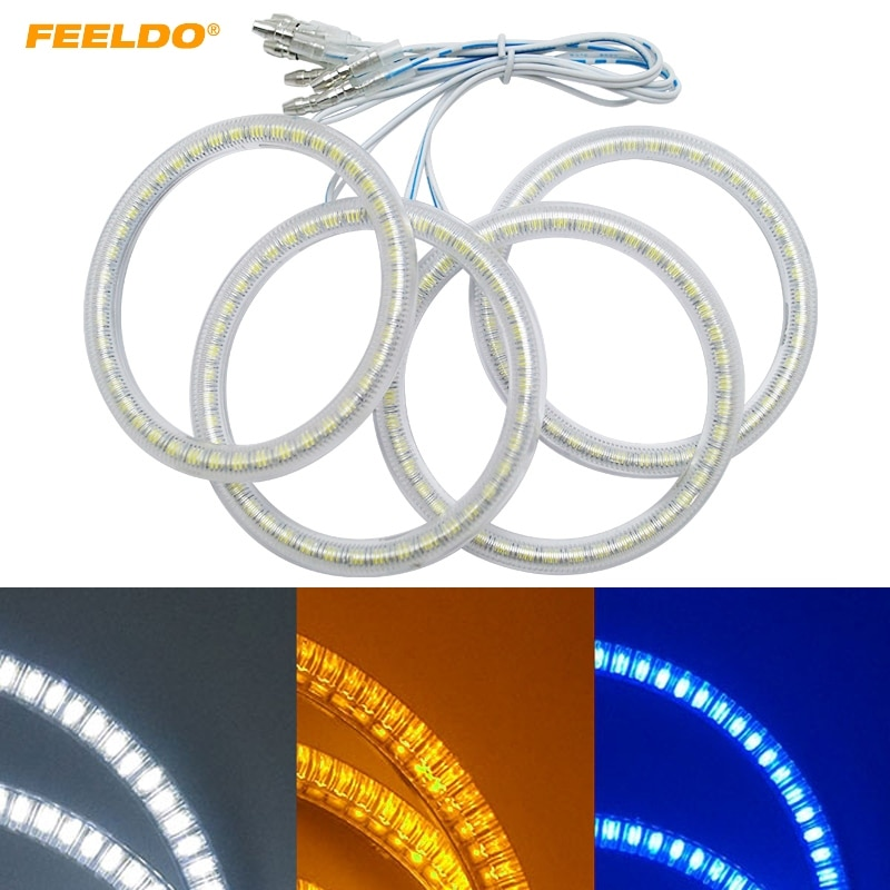 FEELDO 4 unids/set Auto 3528SMD Ojos de Ángel luz Halo anillo para Lada VAZ 2114 faro blanco amarillo Azul # FD-1159