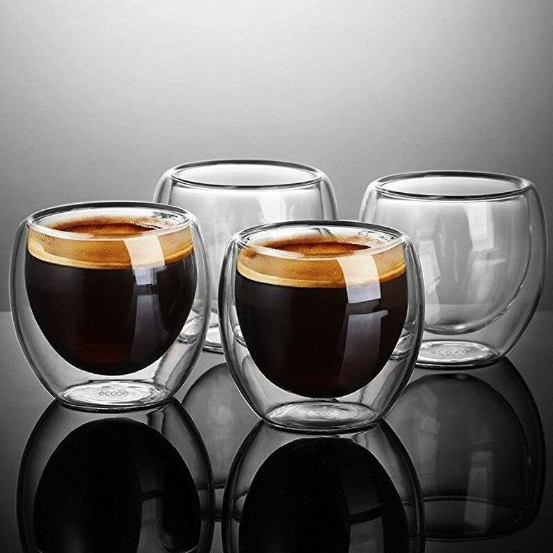 Nuevo 1/6/8 Uds doble pared de vidrio de doble pared de café taza de café 80ml /250ML/350ML/450ML