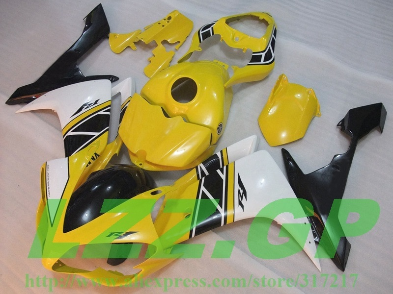 Inyección 100% nuevo Amarillo Blanco negro kit de carenado para Yamaha YZF R1 07 08 YZF-R1 07-08 YZF1000 R1 07 08 YZF R1 2007 #2008 22ff fa