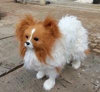 large papillon dog large 28x27cm hard modelpolyethylenefurry fur dogprop decoration toy 1820