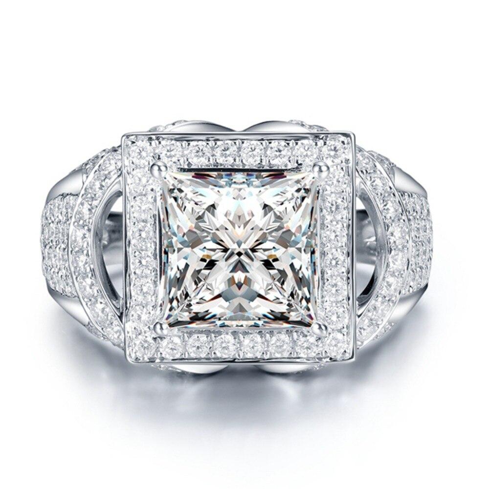 الفاخرة 2ct سوليتير الأحجار الجانبية Moissanites الأميرة حلقة 4 الشق الإعداد 14k الأبيض الذهب مختبر نمت خاتم الماس للنساء سيدة