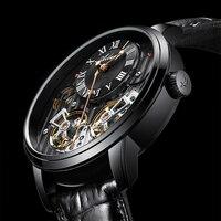 2019 business watch men Automatic Luminous black clock men double Tourbillon waterproof Mechanical watch top brand relogio