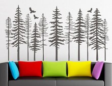 Große Kiefer Wald Wand Decals-Baum Wand Abziehbilder Moderne Natur Decor, kiefer Silhouette Wand Aufkleber Wohnzimmer Decor LR73