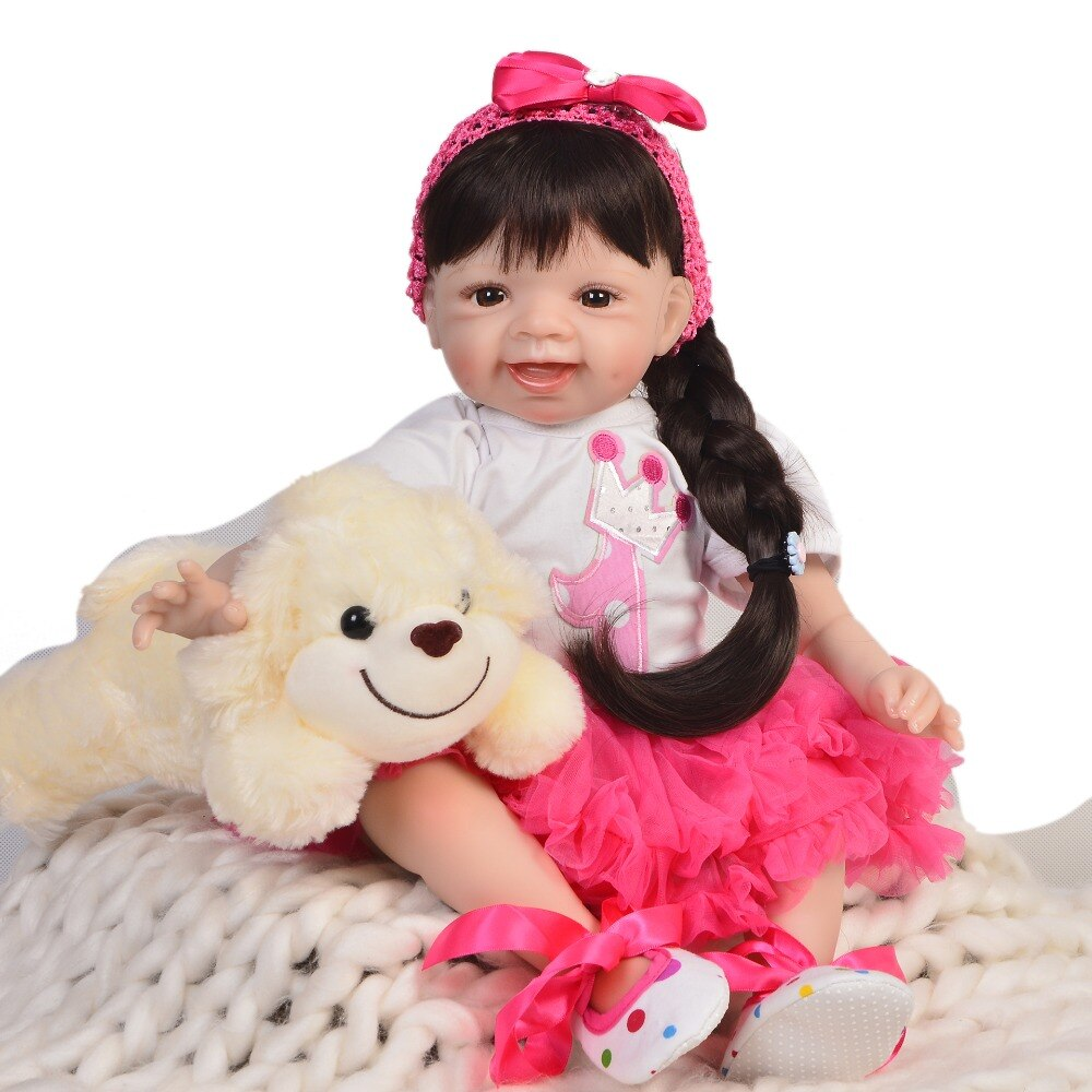 55CM soft SIlicone Vinyl  Reborn Babies Doll Bebe Alive Reborn Lifelike reborn Toys Birthday Gift Princess Toddler Doll Girl Bon