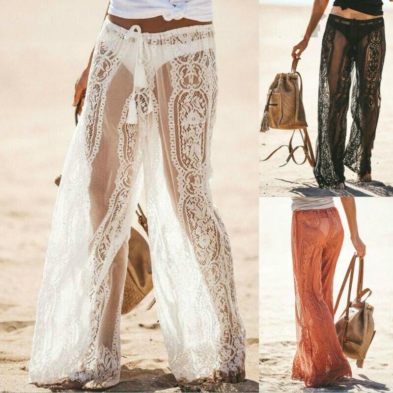 Womens Lace Crochet Knitted Trousers Holiday Beach Wide Leg Bikini Cover Up Pants Swimwear
