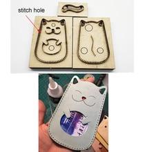3 pièces japon lame en acier artisanat cuir bricolage mignon chat porte-carte sac découpe couteau moule main machine poinçon outil ensemble 115x78mm
