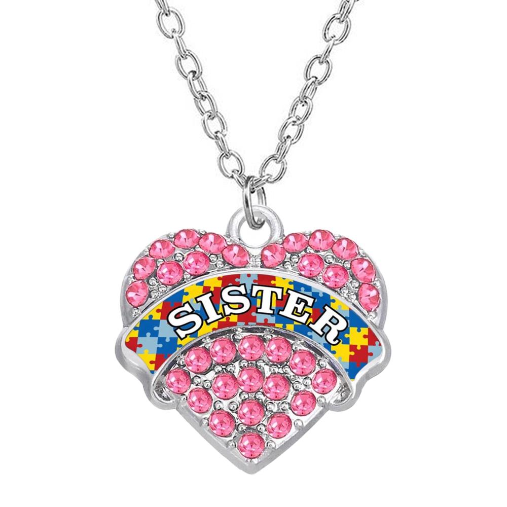 Exquisito collar con colgante de corazón con incrustaciones de cristal de diamantes de imitación brillantes para regalo de hermana de autismo collar de joyería de recuerdo
