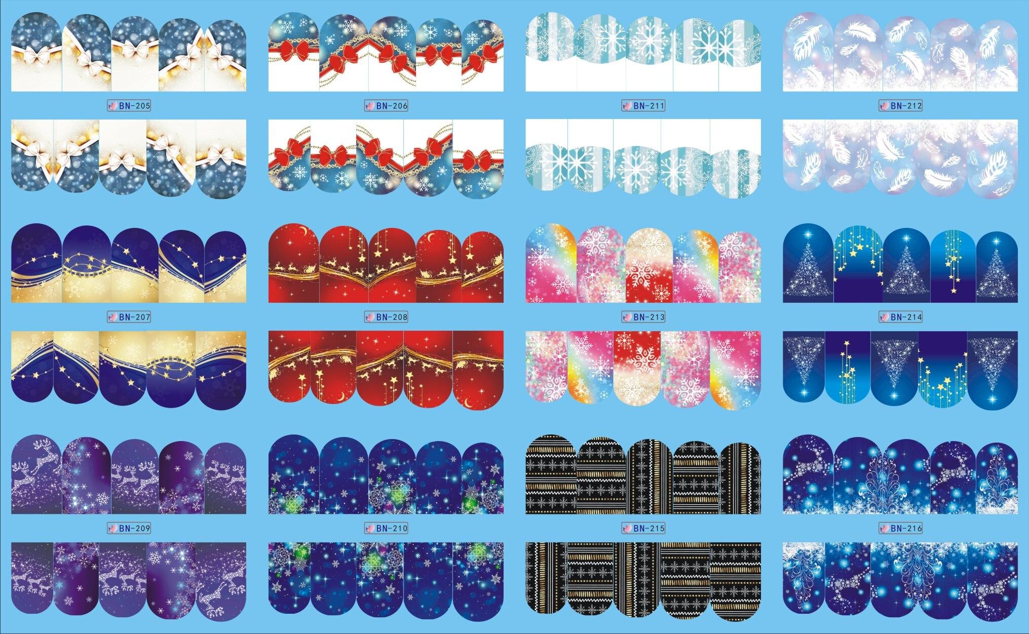 12 Folhas/Lote Prego BN205-216 Snow Flower Natal Estilo Cobertura Completa Das Unhas Art Wraps Água Adesivo Decalque Para Unhas (12 PROJETOS EM 1)