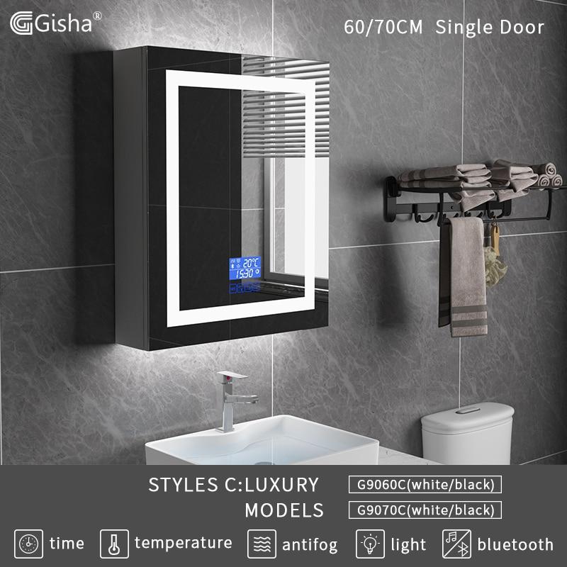 Gisha настенное крепление Смарт LED дерево ванная комната макияж зеркало шкаф с сенсорным экраном Bluetooth интеллектуальная Ванна Анти-туман зерк...
