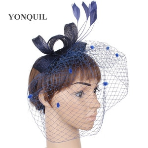 Elegant Women Wedding Mesh Fashion Headwear Flower Fascinator Bride Hat With Feathers Headdress Hair Pin Bow Accessories Ladies
