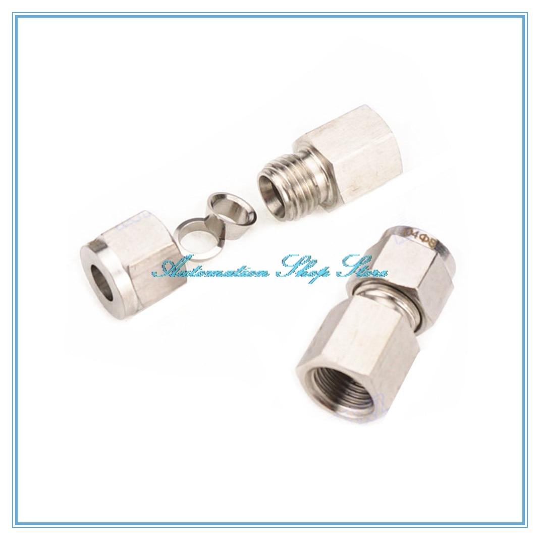 """Tubo de 6-12mm OD a 1/8 """"1/4"""" 3/8 """"1/2"""" rosca hembra tubo de doble virola accesorios 304 SS conector de tubería de acero inoxidable"""