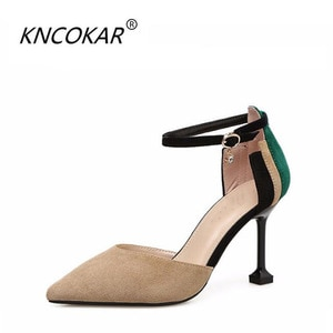 KNCOKAR  cat-and-pin-color stiletto heels for women with spring and autumn pointed stilettos and one-button hollow sandals