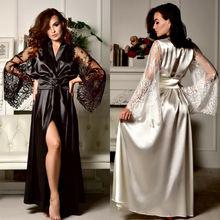 Women Sexy V-Neck Sleepwear Nightgown Satin Silk Babydoll Lingerie Lace Nightdress Long Robes Gown Kimono