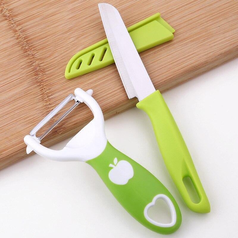 2 unids/set PP + pelador Stell + cuchillo de fruta multifunción Cuchillo de pelado de frutas pelador de manzana patata melón cepillador pelador