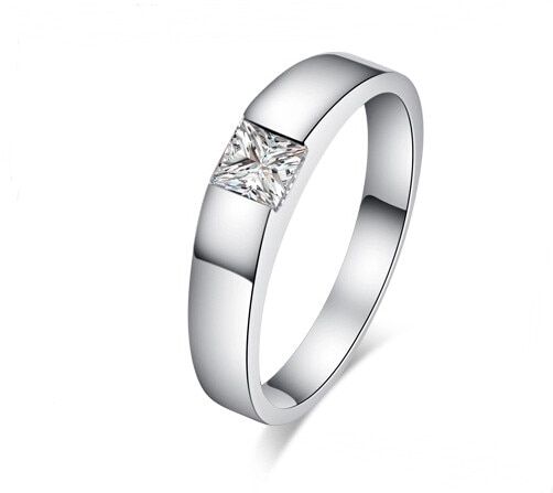 0.5Ct Princess Cut Diamond Engagement Solitaire Ring for Her Solid Platinum 950 Ring Marriage Jewelry