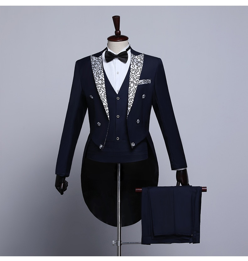 Male Tailcoat Suits White Navy Blue 3-piece Set Stage Performance Singer Dress Suit Magician Wedding Grooms Tuxedo Party Costume