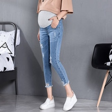 817# 7/10 Length Summer Autumn Fashion Maternity Jeans High Waist Belly Skinny Pencil Pants Clothes