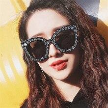 2019 Original Brand Celebrity Oversized Square Sunglasses Women Crystal Mirror Retro Full Star UV400