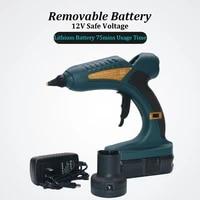 cordless 60w 12v hot melt glue gun rechargable 18v 1 5ah lithium battery for diy woodwork outdoors 11mm glue sticks 10pcs