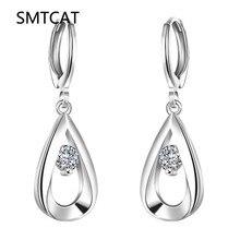 Silver Plated earrings fashion jewelry Teardrop-shaped drop Earring Fashion Design Big Crystal Drop Earring Brincos de Prata 925