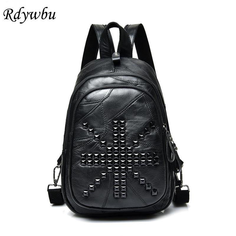 Рюкзак Rdywbu из натуральной кожи с заклепками, женский рюкзак из овчины в стиле панк, дорожная сумка на груди, сумка из овчины с карманами, школ...